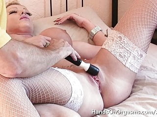 Old Man Masturbates MILF Model To Twat Convulsing Orgasm