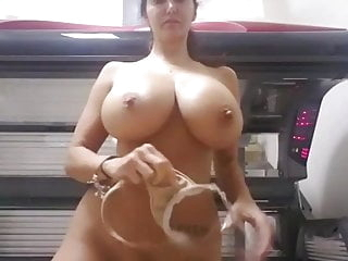Milf Showing Massive Tits And Hairy Pussy Outside Taning Bed